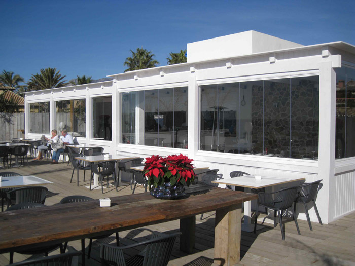 Glass Curtains Malaga Beach Restaurant